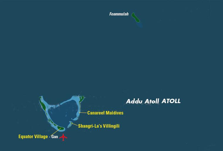 mappa atollo di Addu, isole maldive
