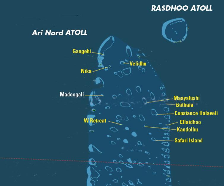 mappa atollo di Ari nord, Maldive